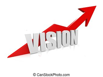 Vision with upward red arrow - Rendered artwork with white...