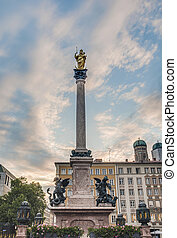 The Mariensauml;ule column in Munich, Germany - The...