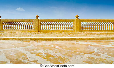 Jaisalmer Terrace - Royal Palace top terrace ornate railing,...