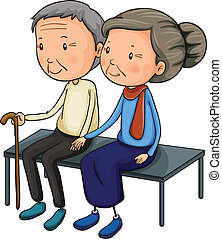 An old couple dating - Illustration of an old couple dating...
