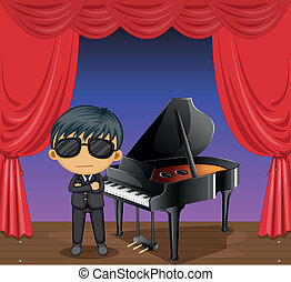 A piano with a pianist - Illustration of a piano with a...