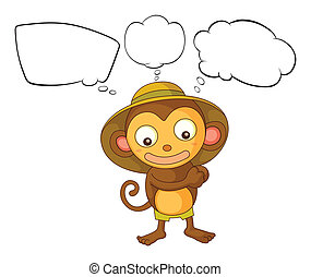 A little monkey with empty callout - Illustration of a...