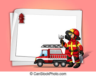 Illustration of a fireman holding an ax beside his fire...