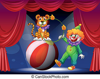 A tiger and a clown performing at the stage - Illustration...