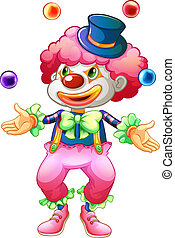 A clown with her balls - Illustration of a clown with her...