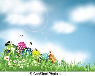 Easter Egg background - Easter eggs nestled in grass against...
