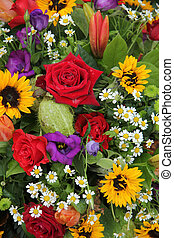 Flower arrangement in bright colors - Mixed floral...
