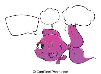 A pink fish with empty thoughts - Illustration of a pink...