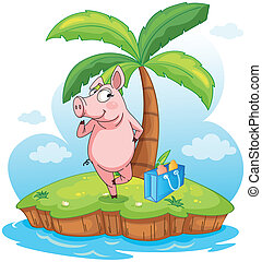 A pig in an island - Illustration of a pig in an island on a...