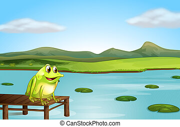 A frog above the wooden bridge - Illustration of a frog...