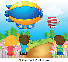 Kids watching the airships - Illustration of the kids...