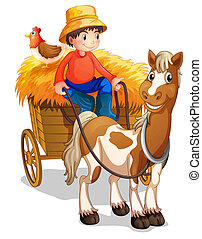 A farmer riding a cart with a chicken at his back -...