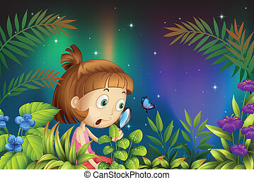 A girl looking at the magnifying lens with a butterfly -...