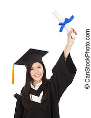 happy Graduate woman Holding Degree