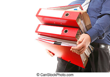 Male office worker carrying a stack of files - Man holding...