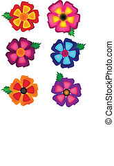 Simple Colorful Flower Vector Set