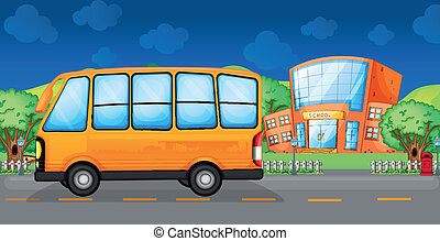 A yellow bus along the street - Illustration of a yellow bus...