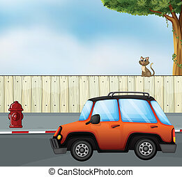 A car at the road and a cat above the fence - Illustration...