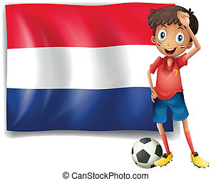 The flag of Netherlands with a soccer player - Illustration...