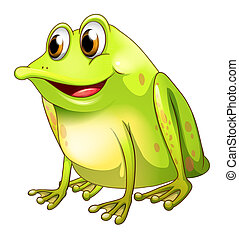 A green bullfrog - Illustration of a green bullfrog on a...