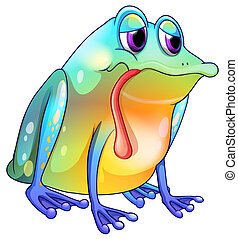 A colorful sad frog - Illustration of a colorful sad frog on...