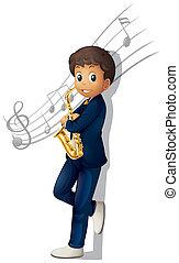 a, 音楽家, 保有物, サクソフォーン,...