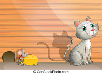 A cat and a rat with cheese - Illustration of a cat and a...