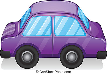 A violet toy car - Illustration of a violet toy car on a...