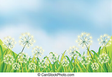 The growing weeds under the blue sky - Illustration of the...