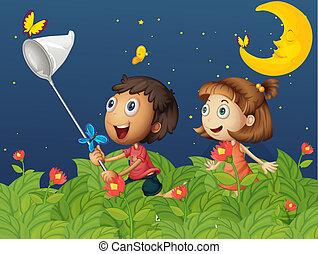 Kids catching butterflies under the bright moon