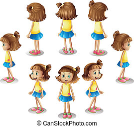 A girl forming a circle - Illustration of a girl forming a...