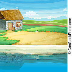 A house near the river - Illustration of a house near the...
