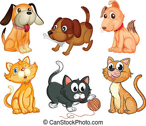 Lovable pets - Illustration of the lovable pets on a white...