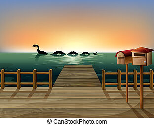 Sunset at the port with two wooden mailboxes - Illustration...