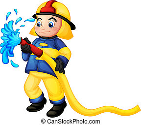 A fireman holding a yellow water hose - Illustration of a...