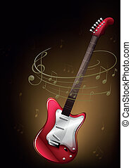 A red guitar with musical notes