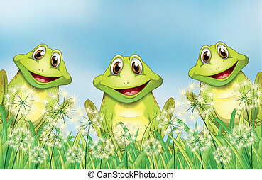 Three happy frogs in the garden - Illustration of the three...