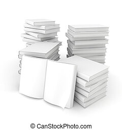 3d blank books on white background