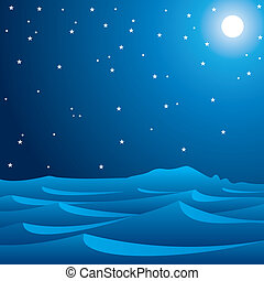 midnight scene of desert stock vector