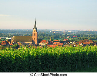 french village and wineyard in alsace - Wineyards at the...