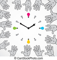 abstract hand try to stop clock