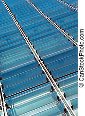 Glass sunshades 3 - Detail view of some glass sunshades of a...