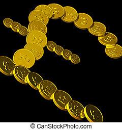 Coins Pound Symbol Showing British Budget
