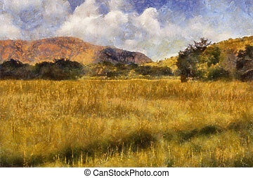 Picturesque Grassland Oil Painting - Picturesque Grassland...