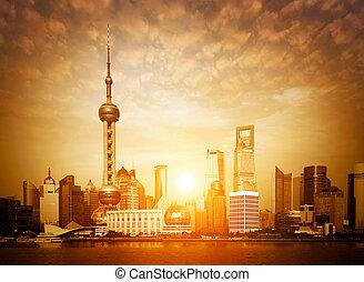 Shanghai skyline at sunrise - Shanghai sunrise, horizon and...