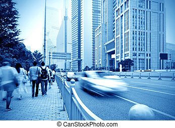 Shanghai street and pedestrian - passenger walking on the...