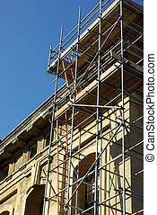 Building renovation - View of some scaffolding used to...