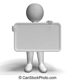 White Blank Sign With Copyspace Includes 3d Character