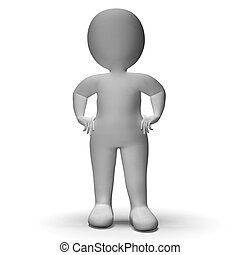 Hands On Hips 3d Man Showing Confidence - Hands On Hips 3d...