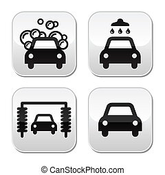 Car wash buttons set - vector - Modern grey square buttons -...